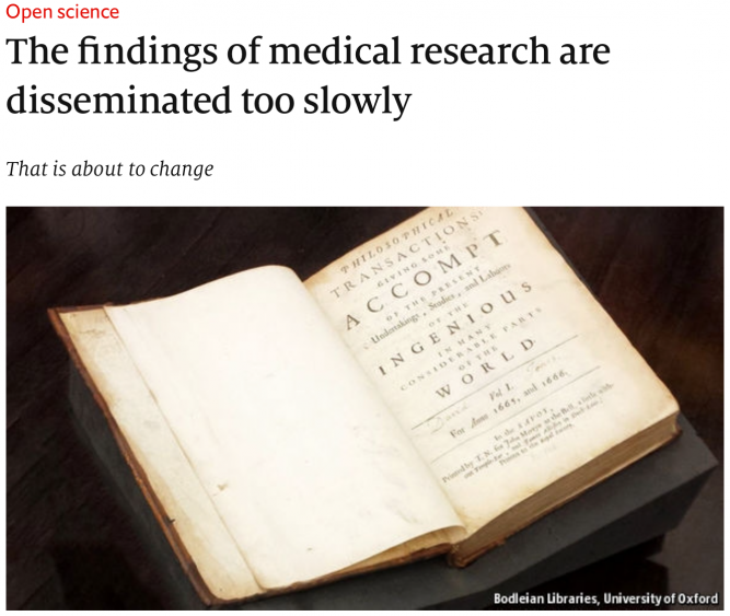 The findings of medical research are disseminated too slowly