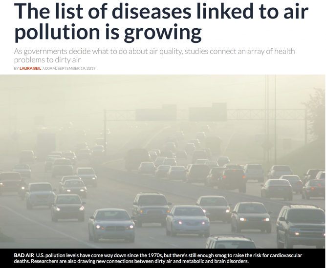 The list of diseases linked to air pollution is growing